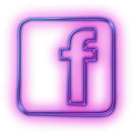 114107 Glowing Purple Neon Icon Social Media Logos Facebook Logo Square
